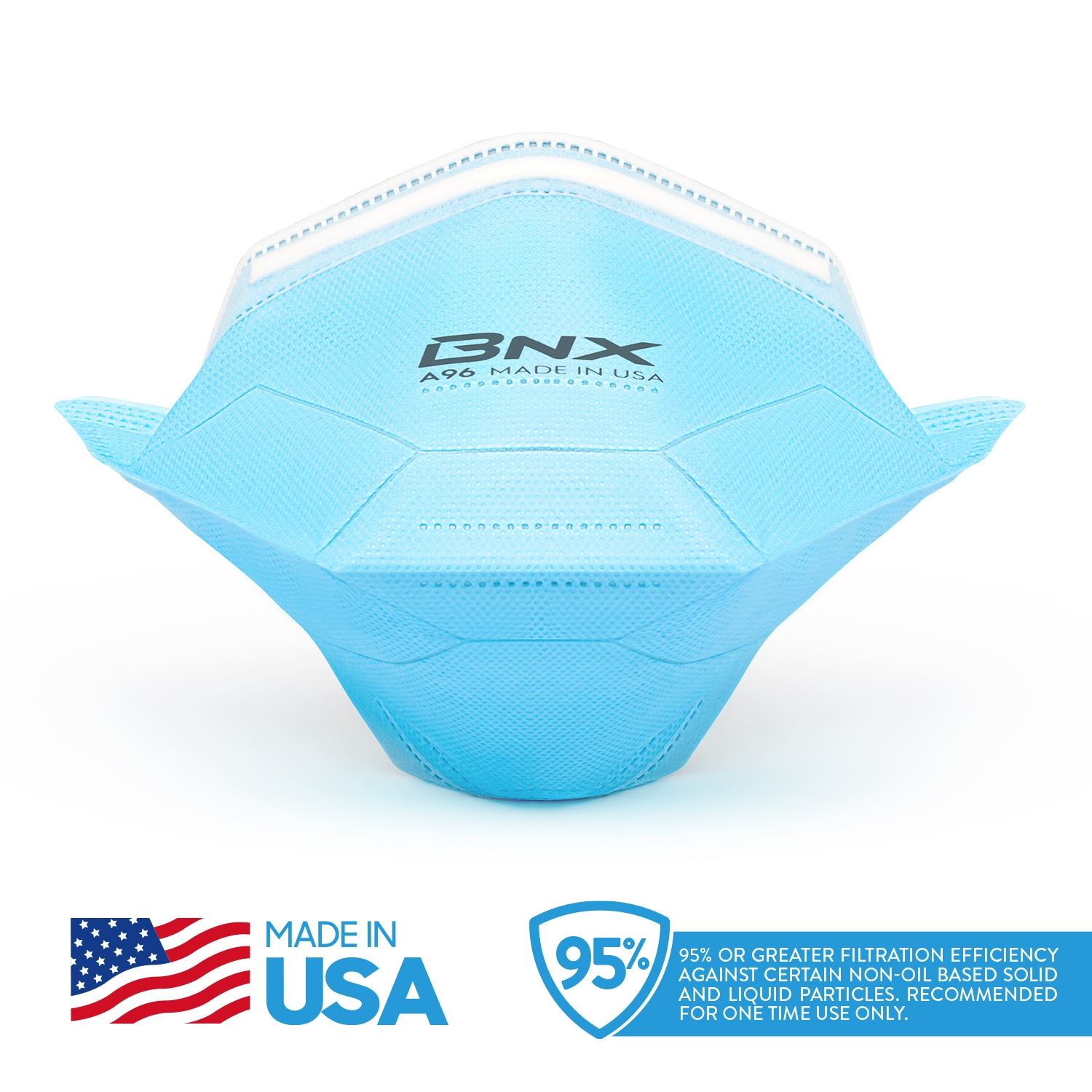 BNX 20-Pack KN95 Protective Face Mask MADE IN USA, FDA Registered, (Headband) (KN95 GB2626-2019), Model A96, Particulate Filtering Face Mask, Disposable Anti Dust Safety Face Mask (Medium)