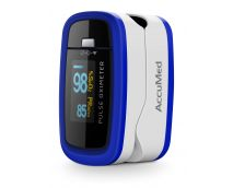 AccuMed CMS-50D1 Finger Pulse Oximeter Blood Oxygen SpO2 Sports and Aviation Monitor - Blue