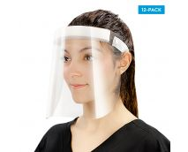 AccuMed 12-Pack Protective Face Shield, Fully Transparent Face Shield with Cushion (12-count)