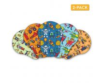 AccuMed Orthoptic Kid's Adhesive Disposable Medical Eye Patch Bandages with 5 Different Designs for Boys in Regular Size for Lazy Eye, Amblyopia, Opticlude or Injury (2 Boxes, 30 per Box)