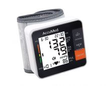 AccuMed ABP801 Portable Wrist Blood Pressure Monitor with One-Touch Automatic Measurement, 4-in-1 Functionality for Systolic/Diastolic BP, Heart Rate(BPM), Hypertension Guide, Arrhythmia Alerts (Black)